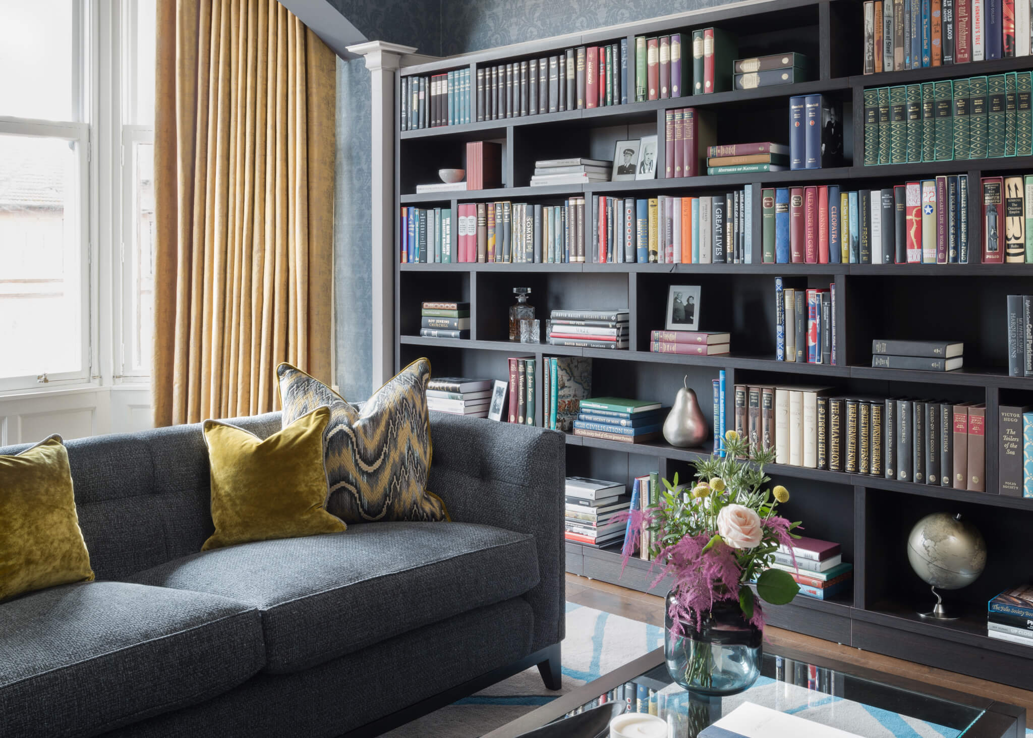 Print-Drawingroom-Across-Coffee-Table-To-Bookcase-Chelsea-Mclaine-Interiors-Introductory-Shoot-©ZACandZAC-2
