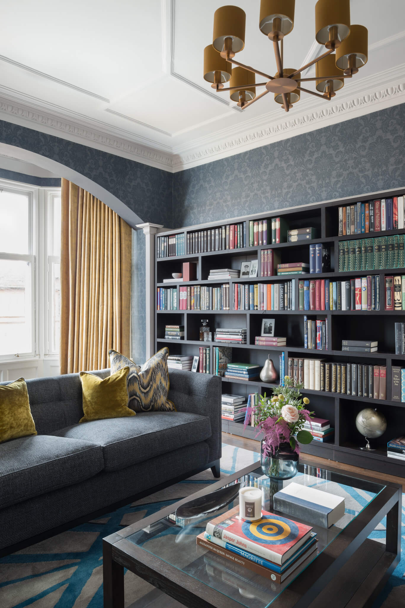 Print-Drawingroom-Across-Coffee-Table-To-Bookcase-Chelsea-Mclaine-Interiors-Introductory-Shoot-©ZACandZAC